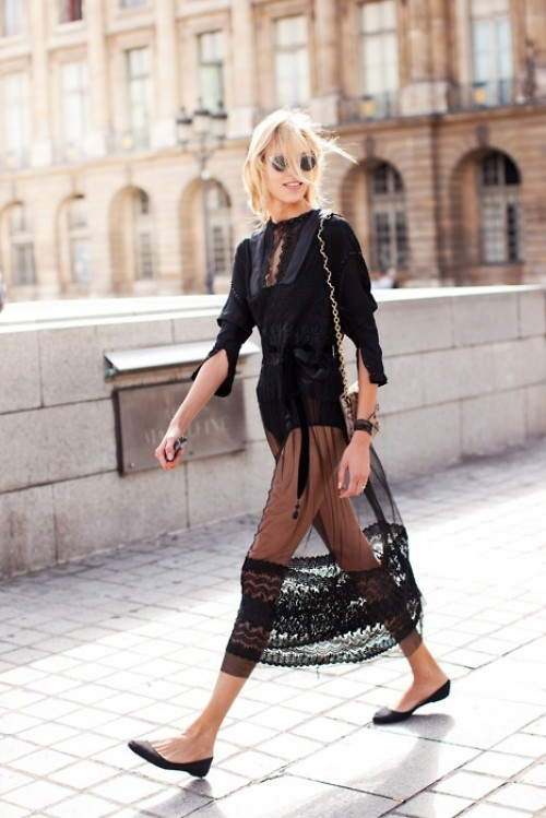 Style Inpiration. Black Sheering Dress, Anja Rubik.