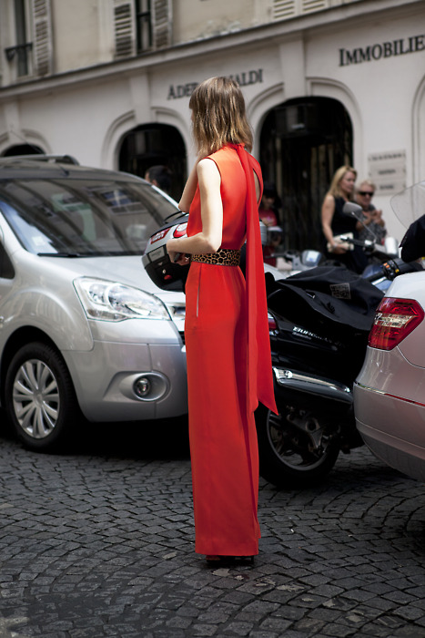 Style Inspiration. Anya Ziourova, in Red , Celine Jumpsuit.