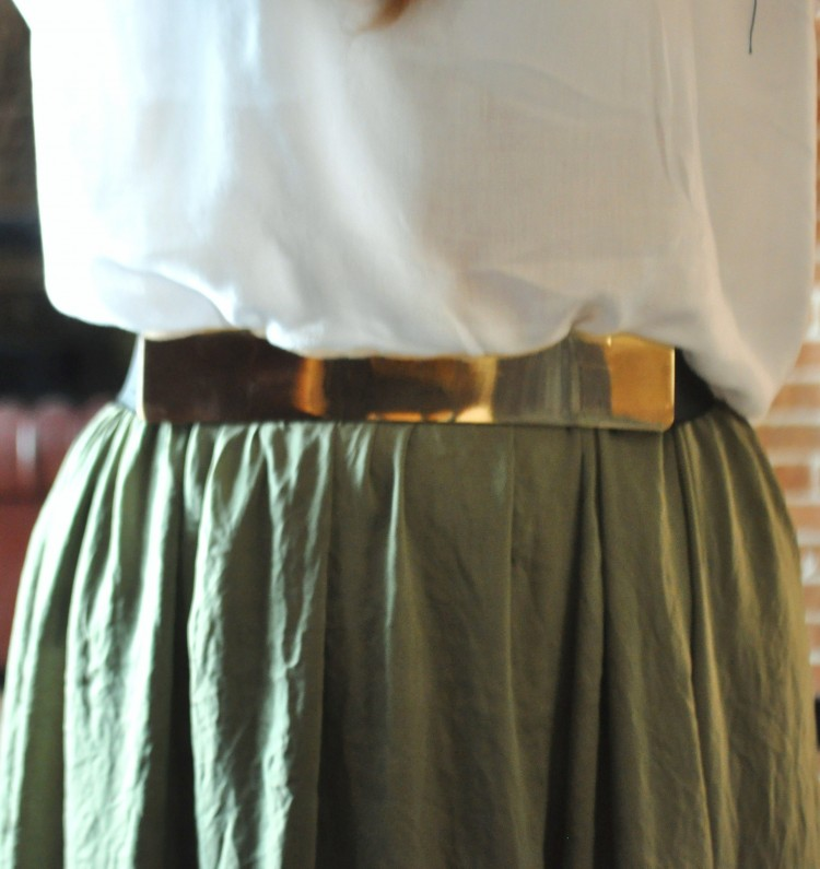 Style File. The olive green skirt.