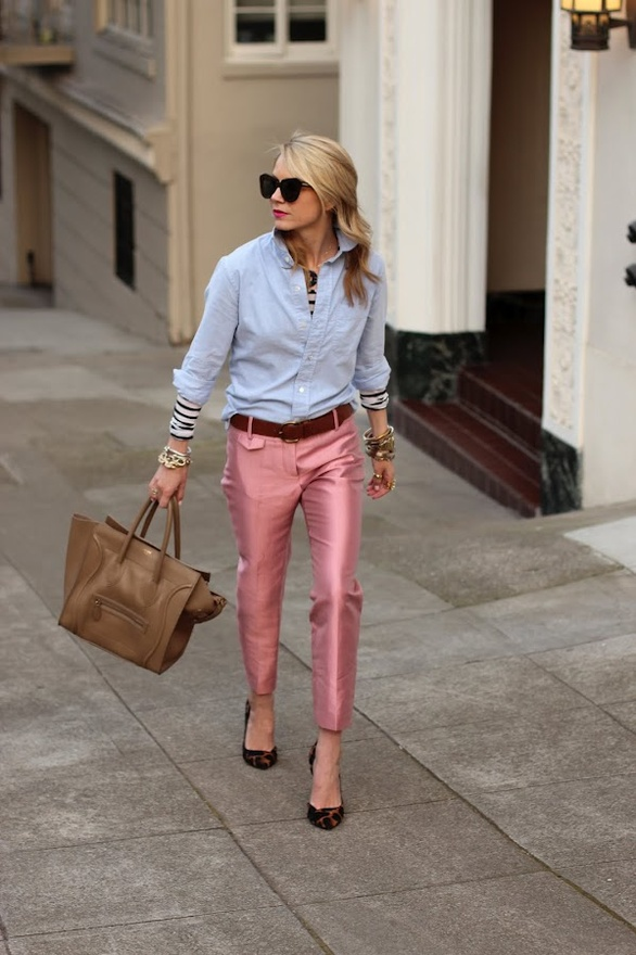 Street Style. In Pink, Cropped, Silk Pants!