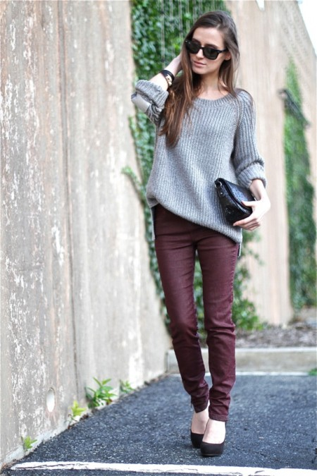 Fall Style with Burgundy & Grey!